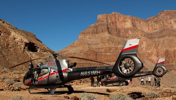 Maverick Helicopter, Maverick's Private Landing Area at the Bottom of Grand Canyon West, Hualapai Indian Reservation, Arizona, United States of America
