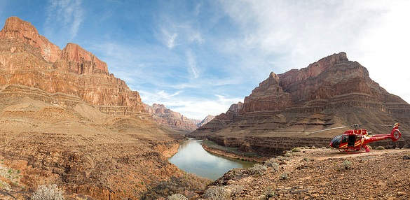 Helicopter at the Bottom of Grand Canyon West, Hualapai Indian Reservation, Arizona, United States of America