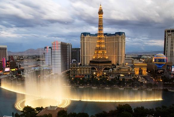 Paris Hotel and Eiffel Tower from Bellagio Hotel, Las Vegas, Nevada