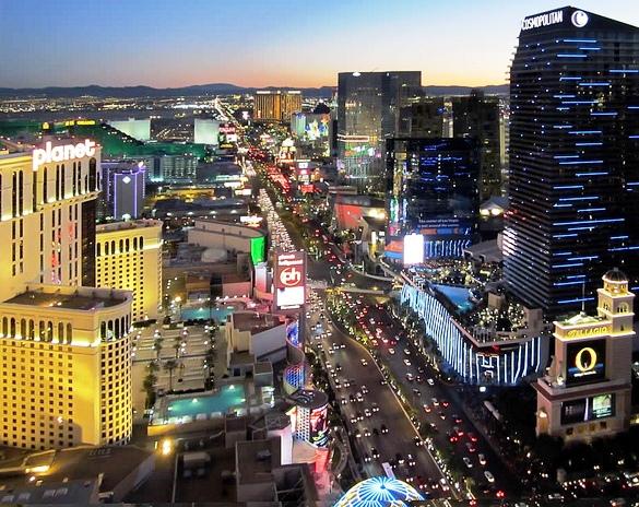 Las Vegas Boulevard South (The Strip) from the Eiffel Tower at Paris, Las Vegas, Nevada, USA