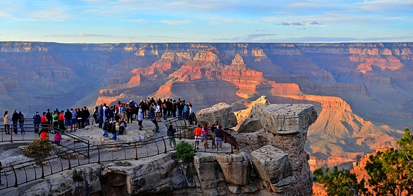 Tourists at Mather Point, South Rim, Grand Canyon National Park, Arizona, United States of America