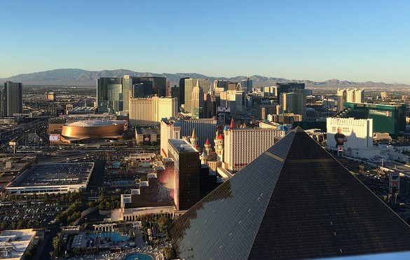 View of Luxor, T-Mobile Arena and Las Vegas from the Mandalay Bay, Nevada, USA