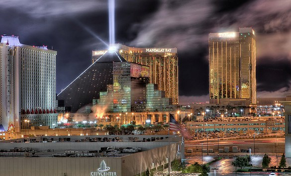 Luxor, Mandalay Bay and Delano at Winter Solstice, Las Vegas, Nevada, USA