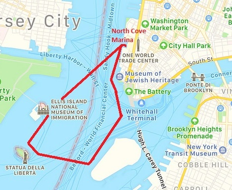 Shearwater, Statue of Liberty Cruise Map