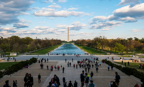 View of National Mall and Washington Monument from the Lincoln Memorial, Washington, D.C., USA
