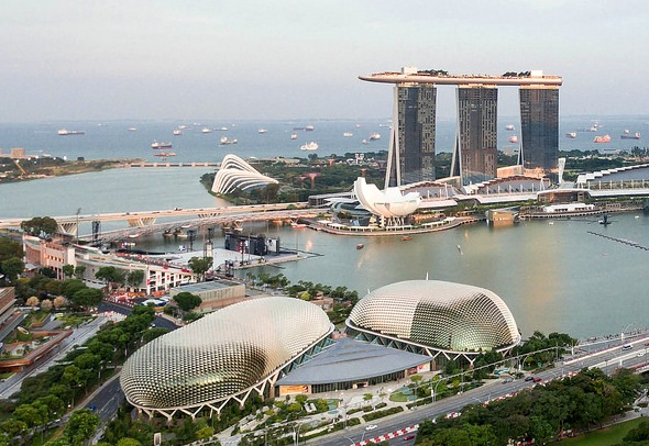 Aerial View of The Esplanade and Marina Bay Sands, Singapore