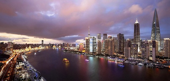 The Bund, Huang Pu River and Pudong from CHAR Bar & Grill at Indigo On The Bund Shanghai