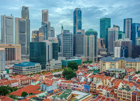 View of Chinatown with CBD Skyscrapers in the Background Singapore