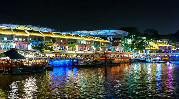 View of Clarke Quay at Night, Singapore