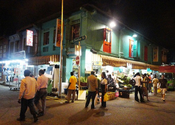 View of Dunlop Street at Night, Little India, Singapore
