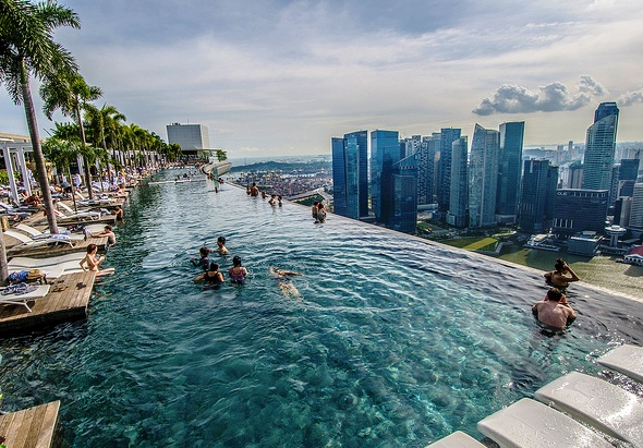 View of Infinity Pool, Marina Bay Sands Hotel, Singapore