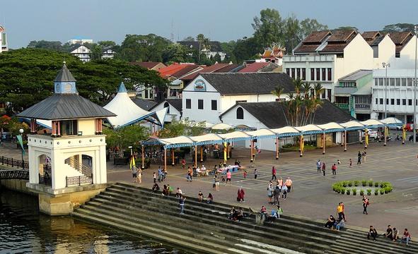 Kuching Waterfront from Darul Hana Bridge, Kuching, Sarawak, Malaysian Borneo
