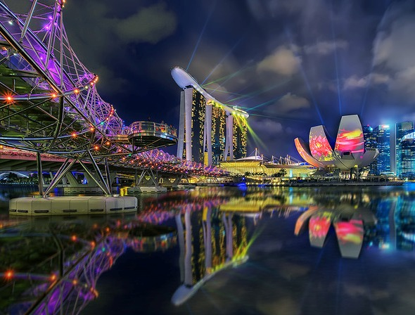 Night View of Helix Bridge (left), Marina Bay Sands (center) and ArtScience Museum (right), Singapore