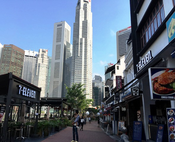 View of Raffles Place Skyscrapers and CBD from Boat Quay, Singapore