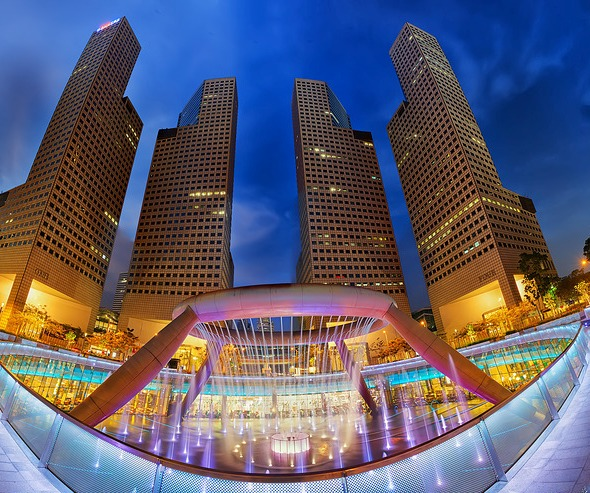 View of Singapore Suntec Mall with Fountain of Wealth, Marina Centre, Singapore
