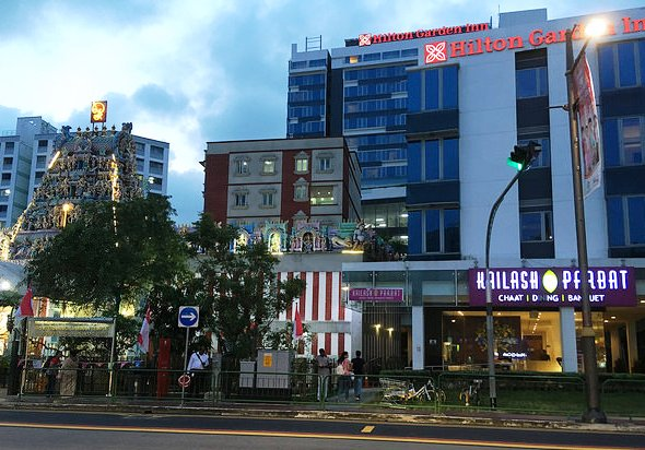 View of Sri Veeramakaliamman Temple and Hilton Garden Inn Serangoon Road, Serangoon Road, Singapore
