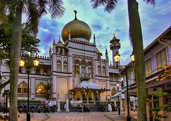 View of the Sultan Mosque at Kampong Glam, Singapore
