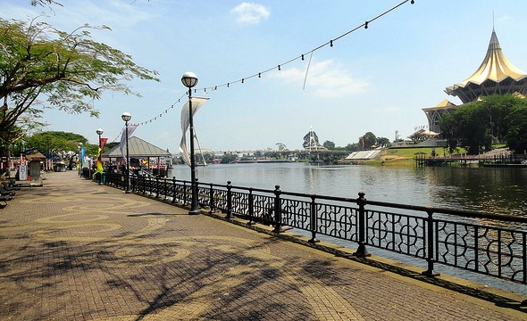 The Waterfront (Esplanade) in the Afternoon, Historic District, Kuching, Sarawak, Malaysian Borneo