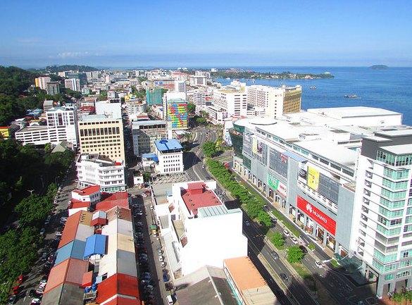 View of Downtown Kota Kinabalu from Mercure Kota Kinabalu City Centre Hotel, Sabah, Malaysian Borneo