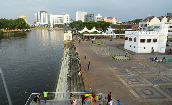 View of The Waterfront Area, Kuching, Sarawak, Malaysian Borneo