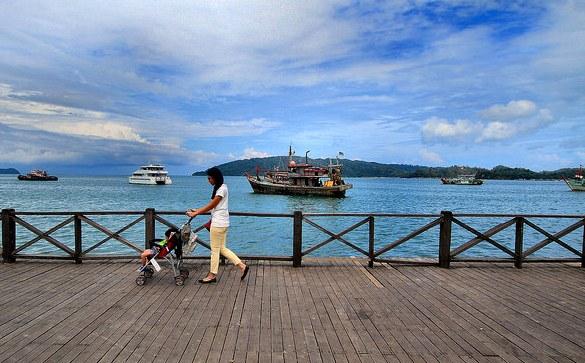 Walking on the Waterfront, Kota Kinabalu, Sabah, Malaysian Borneo
