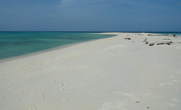 Walking to the Sandbank at the Southern Section of Mantanani Island, Sabah, Malaysian Borneo