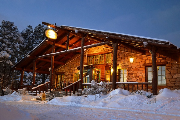 Bright Angel Lodge in Winter, South Rim, Grand Canyon Village, Grand Canyon National Park, Arizona