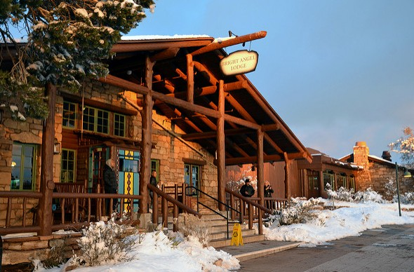 Bright Angel Lodge in Winter, Historic District, Grand Canyon Village, Grand Canyon National Park, Arizona