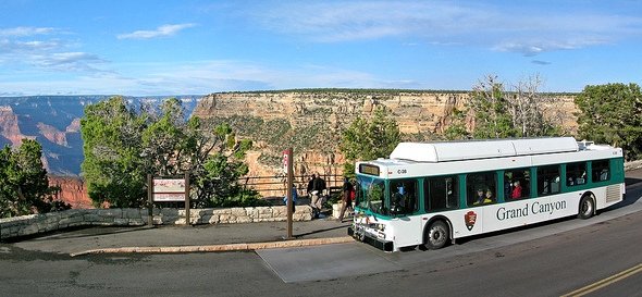 Grand Canyon Bus Shuttle at Monument Creek Vista, South Rim, Grand Canyon National Park, Arizona