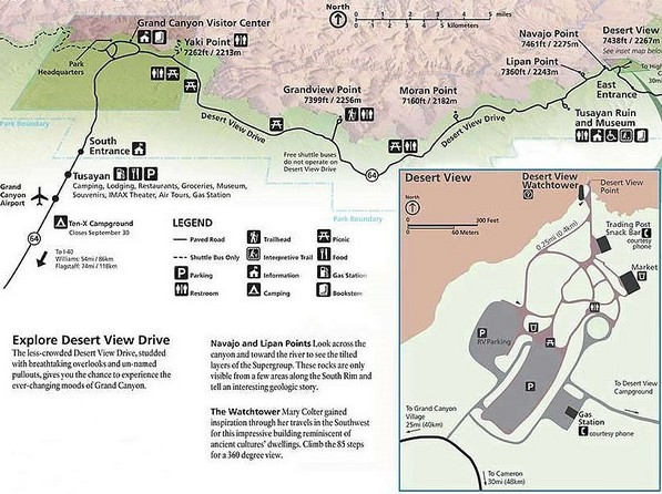 NPS Desert View Drive Map, Grand Canyon National Park, Arizona