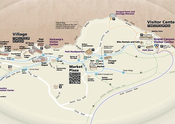 Grand Canyon Village, Market Plaza and Visitor Center Map, Grand Canyon National Park, Arizona