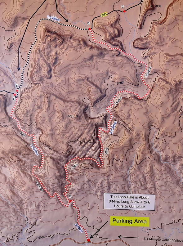 Bell Canyon and Little Wild Horse Canyon Map, San Rafael Swell, Utah