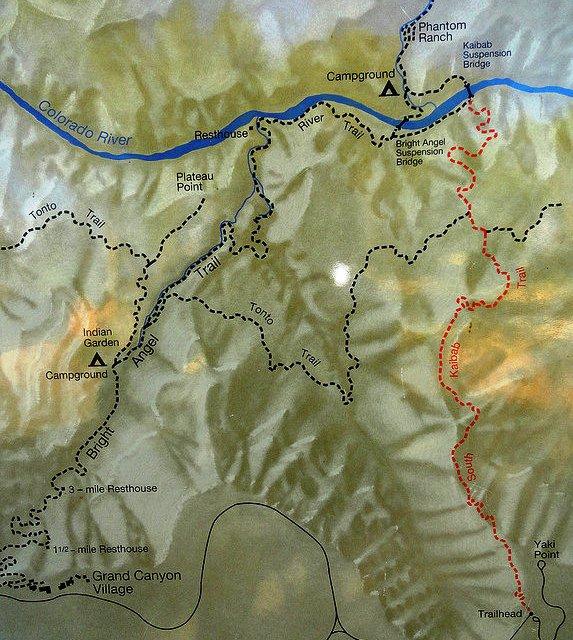 Bright Angel Trail and South Kaibab Trail Map, South Rim, Grand Canyon National Park, Arizona