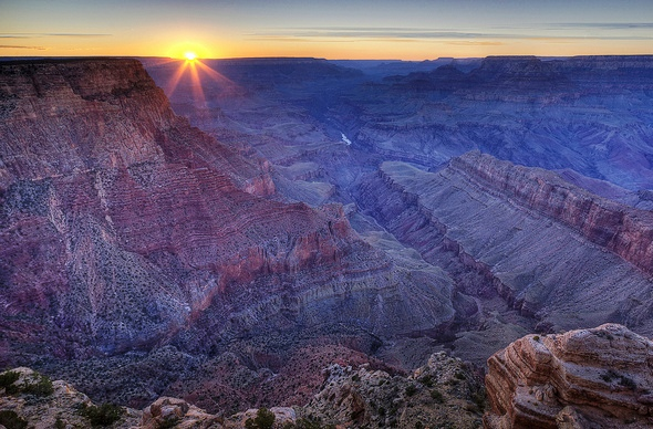 View of Grand Canyon and Colorado River from Lipan Point at Sunset, South Rim, Grand Canyon National Park, Arizona