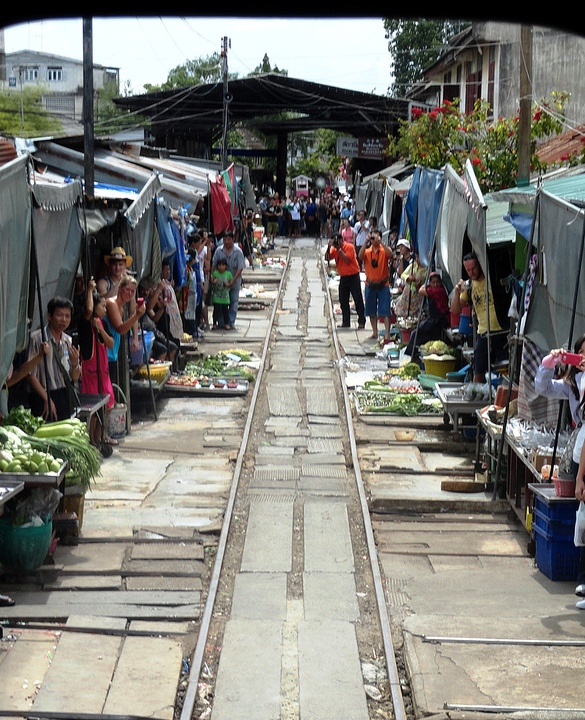 Crossing Maeklong Railway Market Aboard the Train, Samut Songkhram, Thailand