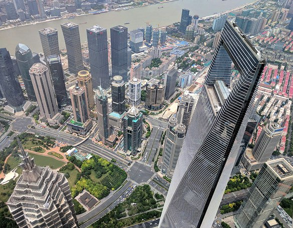 View of Jin Mao Tower, Shanghai WFC and Pudong from Shanghai Tower Observation Deck, China