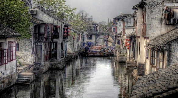 View of a Canal in Zhouzhuang Water Town, near Shanghai, China