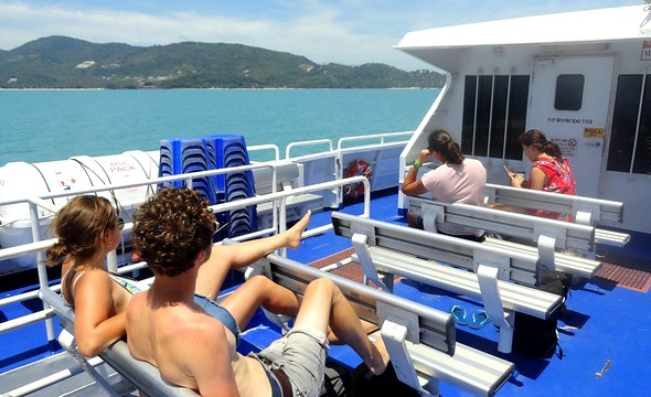 Aboard Lomprayah High Speed Ferry from Koh Tao to Nathon Pier in Koh Samui, Thailand