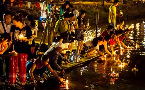 Chiang Mai in the Evening during Loi Kratong, Thailand