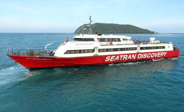 Seatran Discovery Fast Ferry Leaving Thong Sala Pier in Koh Phangan to Koh Tao, Thailand