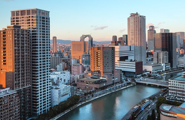 Dojima River and Umeda District, Osaka, Japan