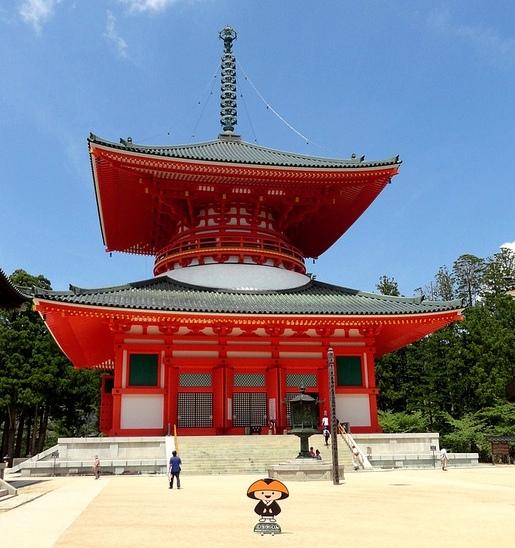 Konpon Daito Pagoda and Blue Sky, Danjo Garan Complex, Koyasan, Japan