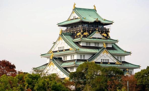 Osaka Castle from Osaka Castle Park, Osaka, Japan