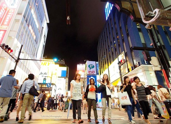 Shinsaibashi Night, Namba District, Osaka, Japan