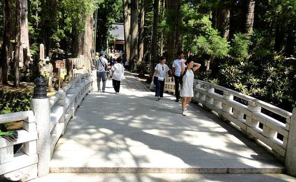 Torodo Hall (Hall of Lamps) from Gobyobashi Bridge, Okunoin Cemetery, Koyasan, Japan