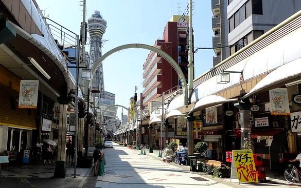 Tsutenkaku Tower and Shinsekai Street at Day Time, Shinsekai, Osaka, Japan