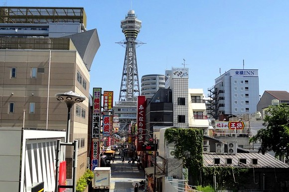 Tsutenkaku Tower from Spa World, Shinsekai, Osaka, Japan