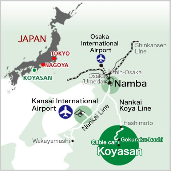 Koyasan (Mount Koya) Location Map, Japan