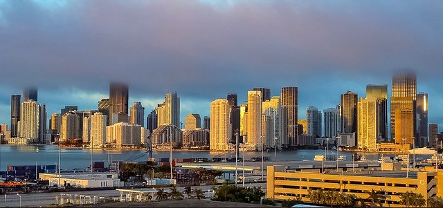 Brickell (on the left) and Downtown Miami (on the right) from Miami Port, Miami, Florida