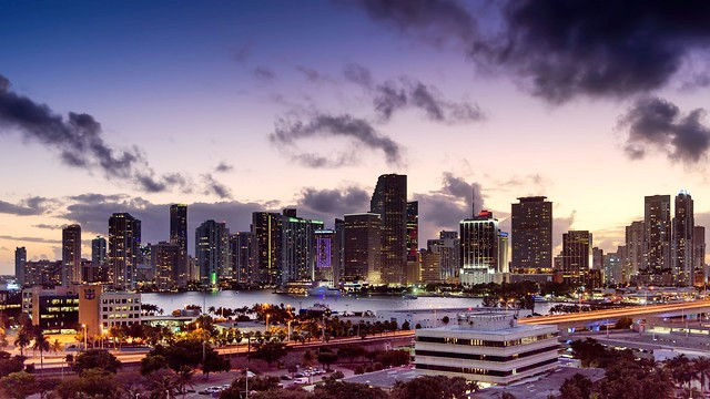 Downtown Miami at Sunset, Miami, Florida